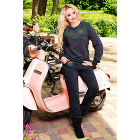 Костюм женский (джемпер, брюки) 75030  цвет тёмно-серый, р-р 42 (S)