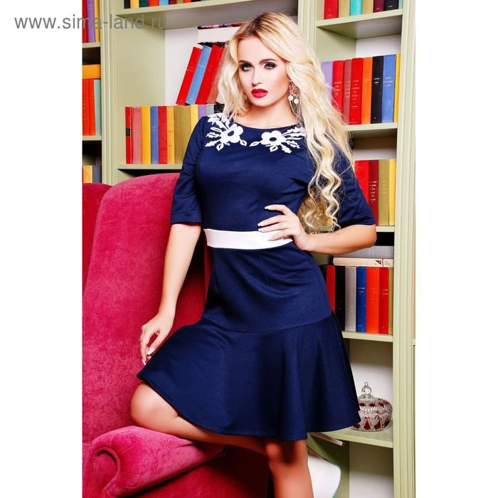 Платье женское 71173B, размер 48 (XL), цвет синий