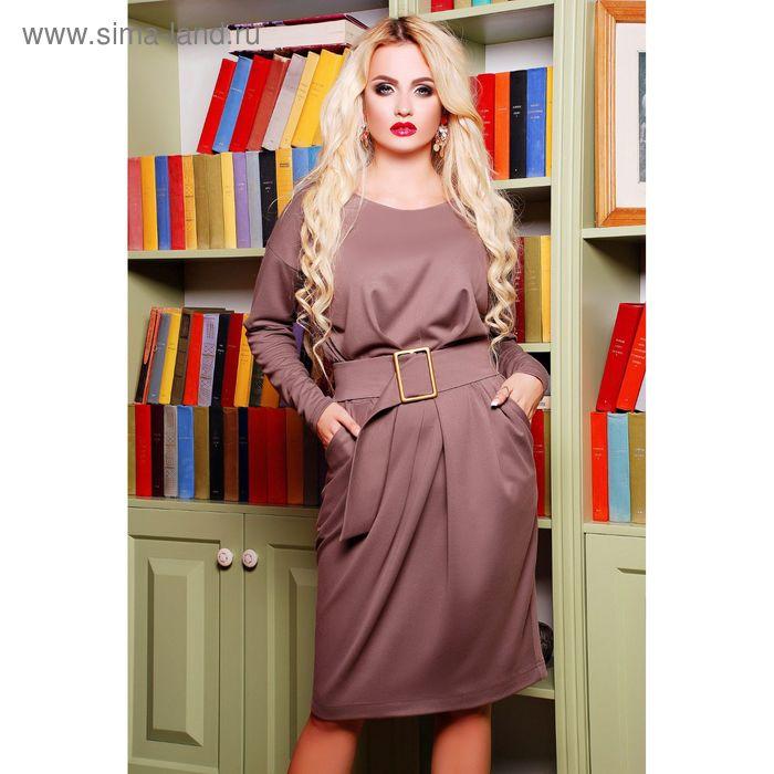 Платье женское, размер 50 (XXL), цвет кофе (арт. 71174B С+)
