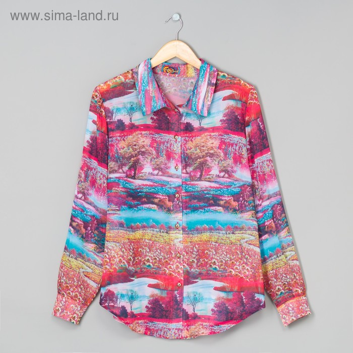 Блузка женская, размер 50 (XXL), цвет красный/пейзаж (арт. 72038B С+)
