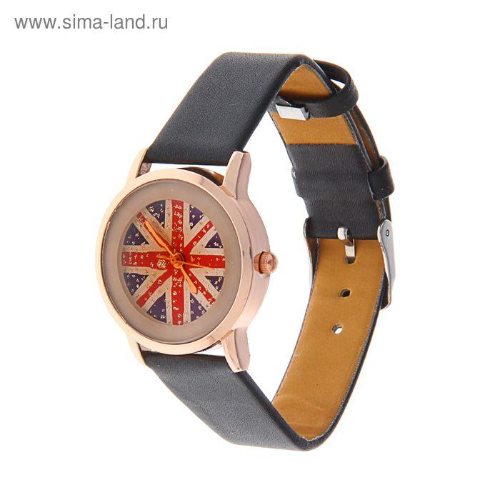 Часы наручные женские Британский флаг ремешок черный