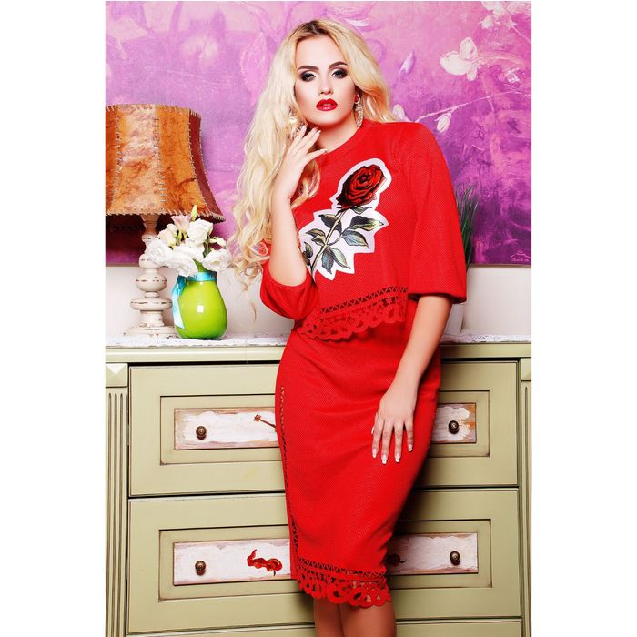 Костюм женский (джемпер, юбка) 75031  цвет красный, р-р 44 (M)