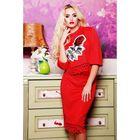Костюм женский (джемпер, юбка) 75031  цвет красный, р-р 46 (L)