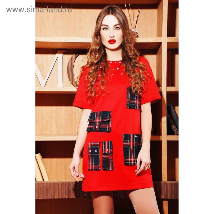 Платье женское, размер 50 (XXL), цвет красный (арт. 71144В С+)