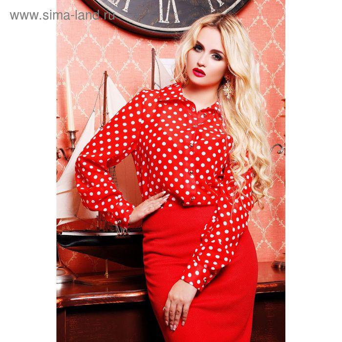 Блузка женская, размер 50 (XXL), цвет красный/горох (арт. 72038B С+)