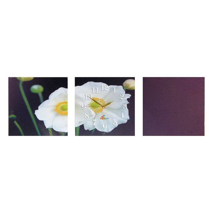 Часы-триптих модульные «Два белых цветка», 40 × 100 см