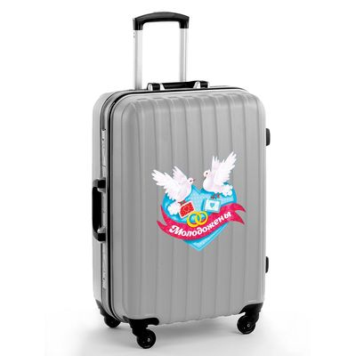 "The sticker on the suitcase ""just married"", 16.5 × 15.7 cm"