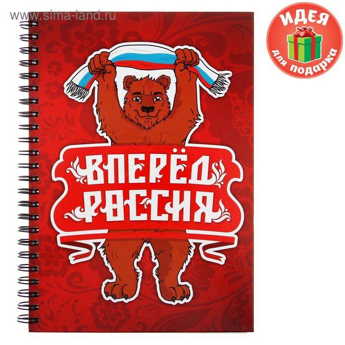 """Ежедневник на гребне """"Россия, вперёд!"""", твёрдая обложка, А5, 80 листов"""