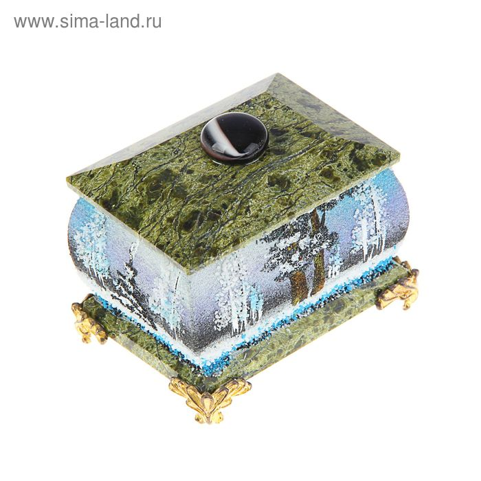 """Шкатулка с ручкой, на ножках, """"Зима""""5х7 см, каменная крошка, серпент"""