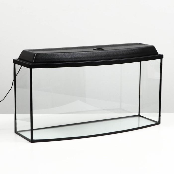 Аквариум телевизор с крышкой, 85 литров, 80 х 27 х 39,5/45,5 см, чёрный