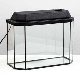 Аквариум панорамный с крышкой, 25 литров, 44 х 18,5 х 31/36,5 см, чёрный