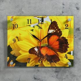 """Часы настенные, серия: Животный мир, """"Бабочка на гербере"""", 30х40  см, микс"""