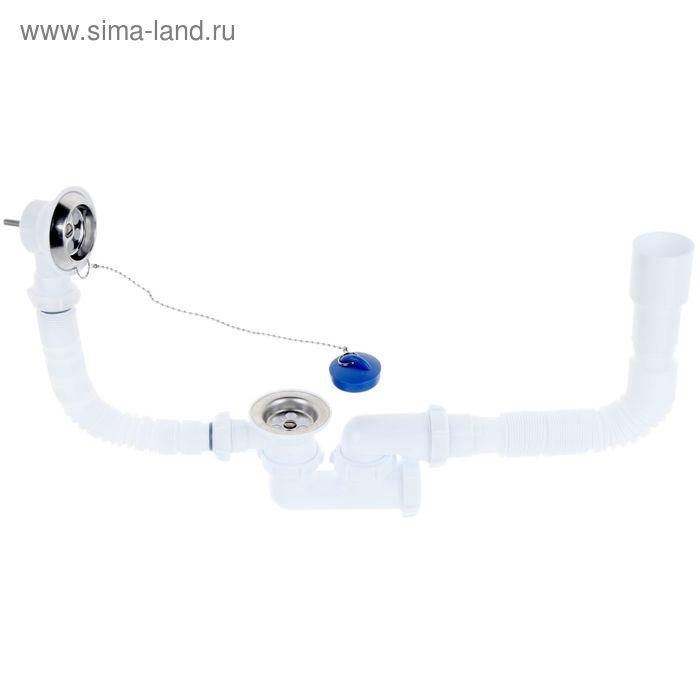 Сифон для ванны Aquant, с выпуском и переливом регулируемым 40х40/50 мм