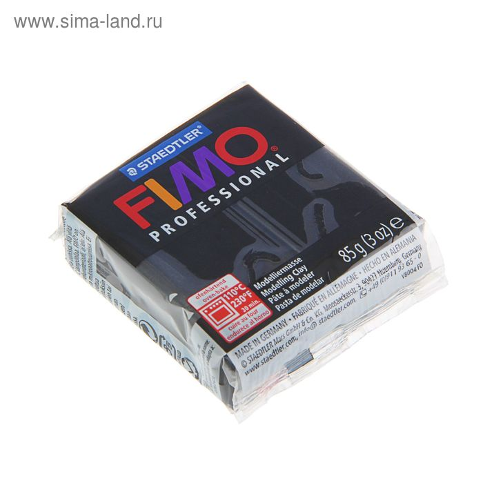 Пластика - полимерная глина 85г FIMO professional, черный