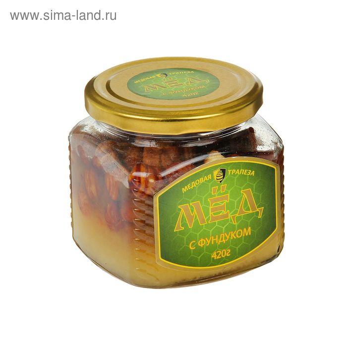 Мед натуральный с фундуком, стекло, 420 гр