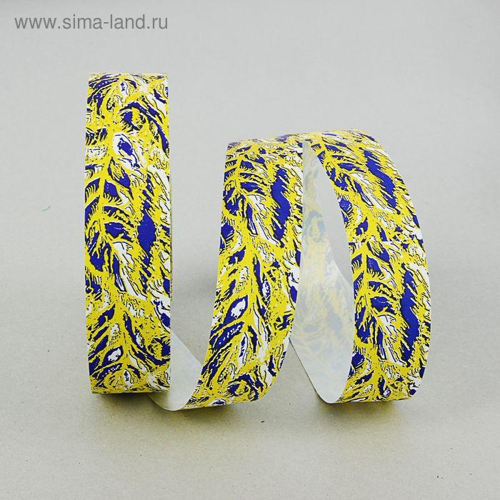 Лента для декора и подарков с рисунком, лимонно-синяя, 3 см х 100 м