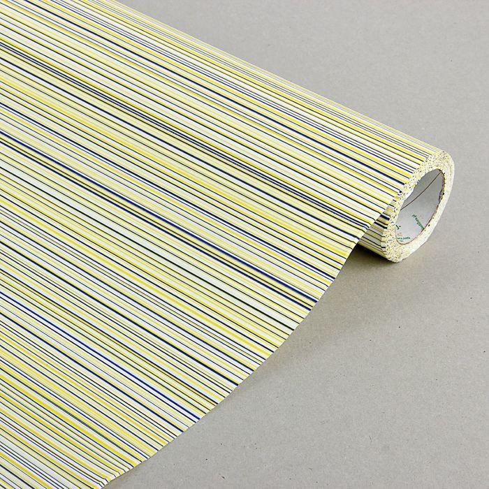 """Бумага упаковочная крафт """"Полоски люкс"""", бело-лимонно-синяя, 0.5 х 10 м"""