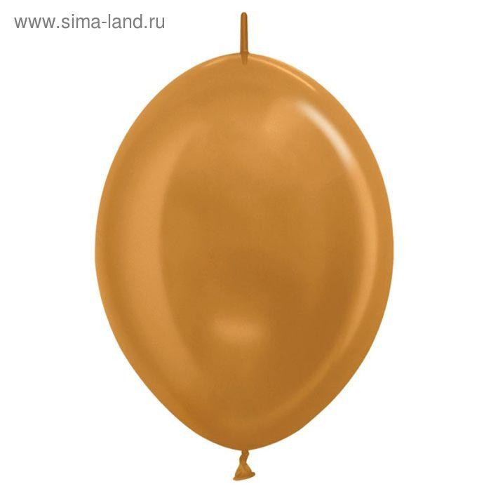 """Шар латексный 12"""", линколун, металл, набор 100 шт., цвет золото"""