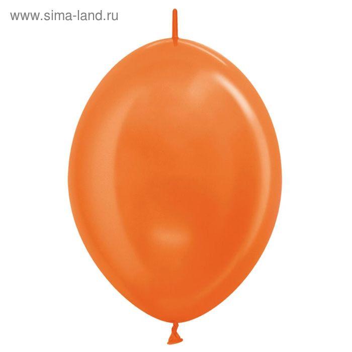 """Шар латексный 12"""", линколун, металл, набор 100 шт., цвет оранжевый"""