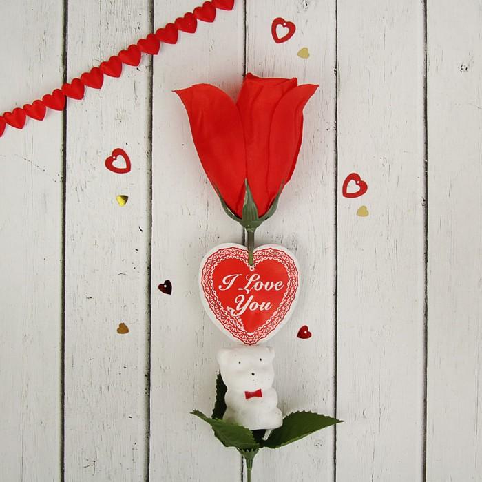 """Аксессуар для букета """"Цветок"""" красный с мишкой и сердцем"""