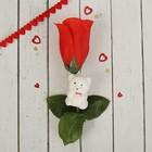 """Аксессуар для букета """"Цветок"""" красный с мишкой и сердечком"""