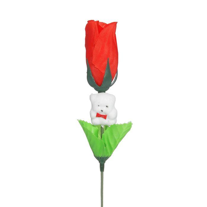 """Аксессуар для букета """"Цветочек"""" красный с мишкой"""