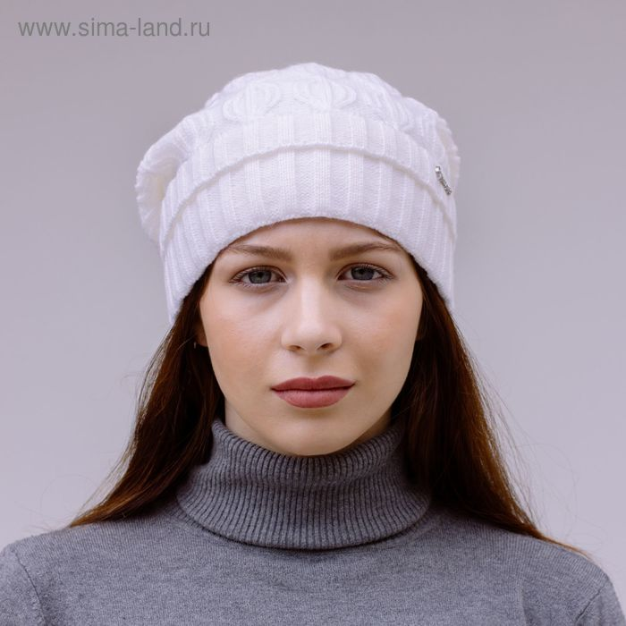 """Шапка женская зимняя """"ЭЛАДА 2"""", размер 58, цвет белый 407022"""