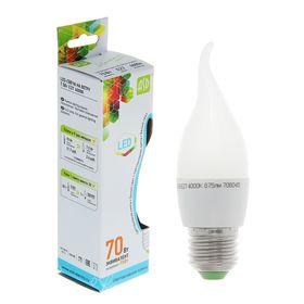 Лампа светодиодная ASD LED-СВЕЧА НА ВЕТРУ-standard, Е27, 7.5 Вт, 230 В, 4000 К, 675 Лм