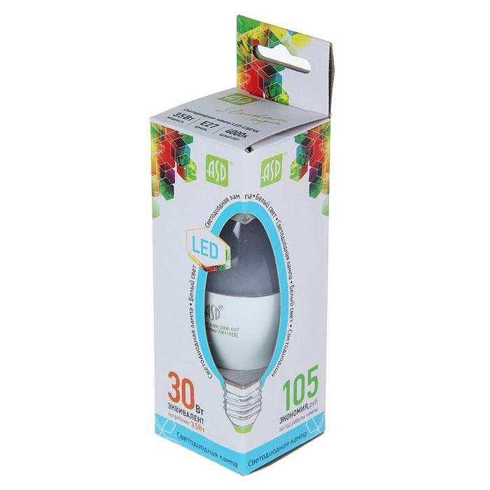 """Лампа светодиодная ASD, Е27, 3.5 Вт,  4000 К, """"свеча"""""""