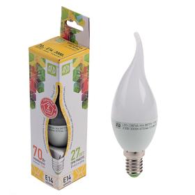 "Лампа светодиодная ASD, Е14, 7.5 Вт, 210 - 240 В, 3000 К, ""свеча на ветру"""