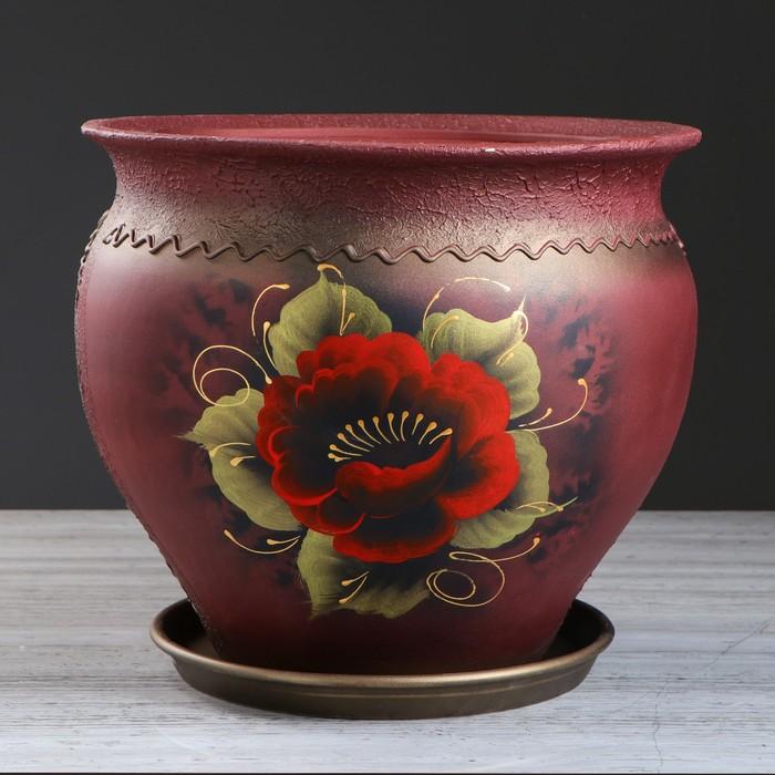 """Цветочный горшок """"Тюльпан"""" роспись, 16 л, цветы - фото 308838717"""
