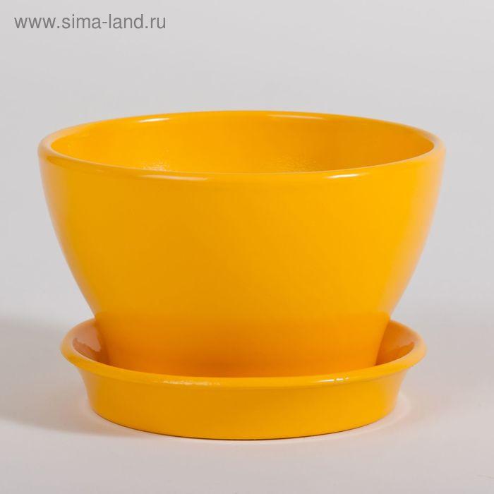 """Кашпо """"Ксения"""" бокарнея, глянец, жёлтое, 7,4 л"""
