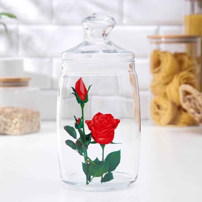 "Банка для сыпучих 1,1 л ""Цветник. Дикая роза"", крышка Cesni"