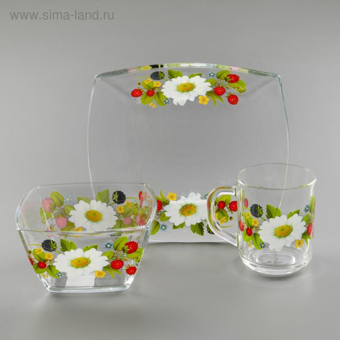 """Набор посуды для завтрака """"Лесная поляна"""", 3 шт: тарелка 19,5 см, миска 12,5 см, кружка 200 мл"""