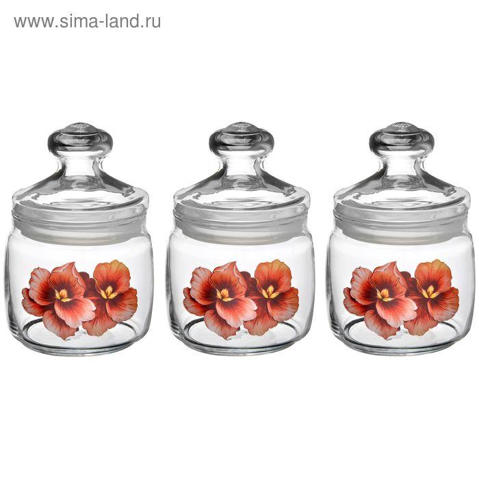"""Набор банок для сыпучих 650 мл """"Розовая орхидея"""", 3 шт, крышка Cesni"""