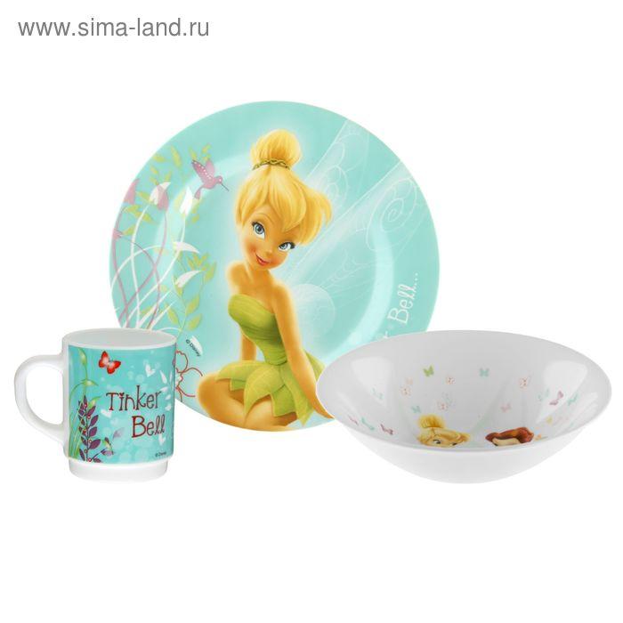 """Набор детский """"Феечки"""", 3 предмета: тарелка d=19 см, пиала d=16 см, кружка 250 мл, в подарочной упаковке"""
