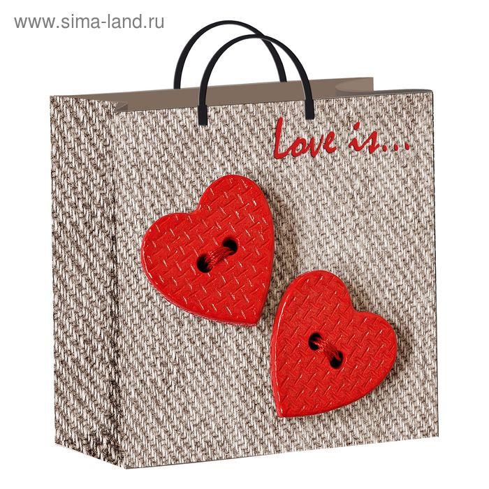 """Пакет """"Два сердца"""", мягкий пластик, 30 х 30 см, 137 мкм"""