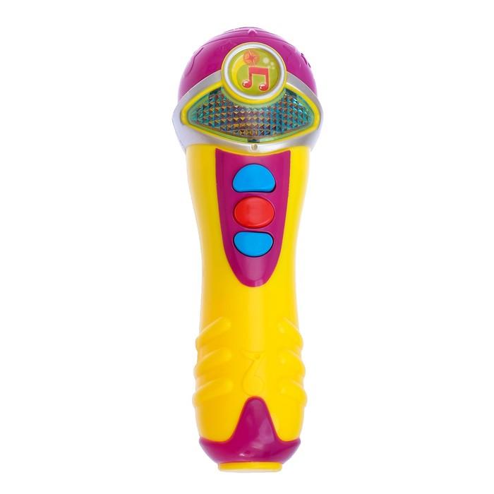 Микрофон музыкальный, световые эффекты, работает от батареек, в пакете