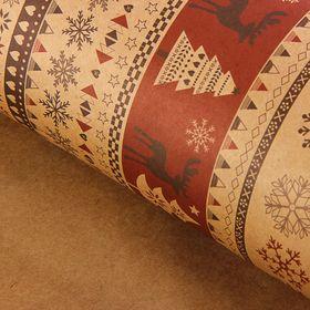 Бумага упаковочная крафт 'Скандинавский узор' красный, 50 х 70 см, 10 шт Ош