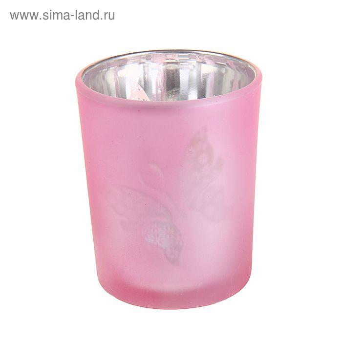 """Подсвечник на 1 свечу """"Бабочка на розовом"""""""