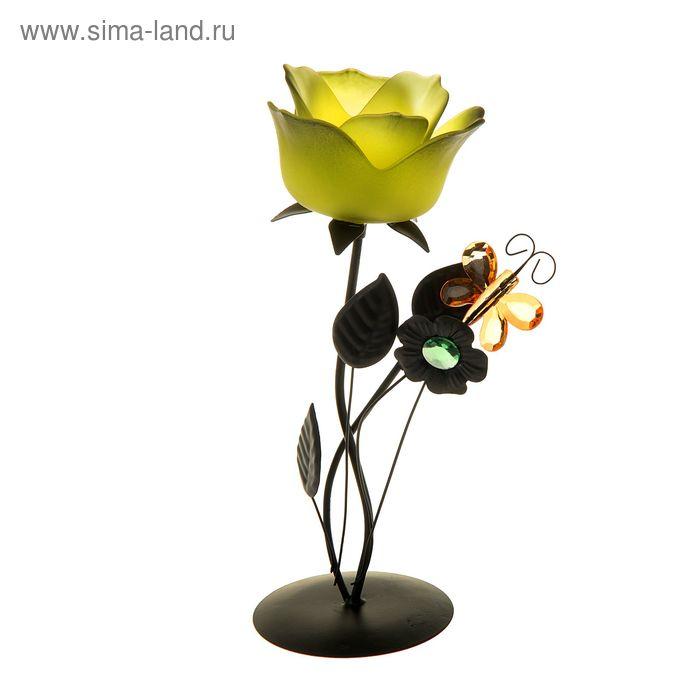 """Подсвечник 1 свеча """"Бабочка у цветка"""""""