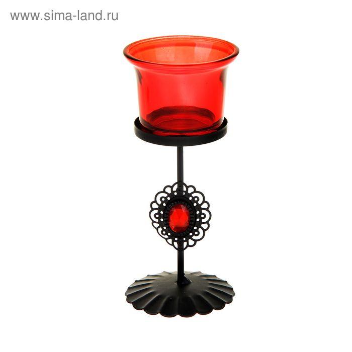 """Подсвечник 1 свеча """"Алый свет рубина"""""""