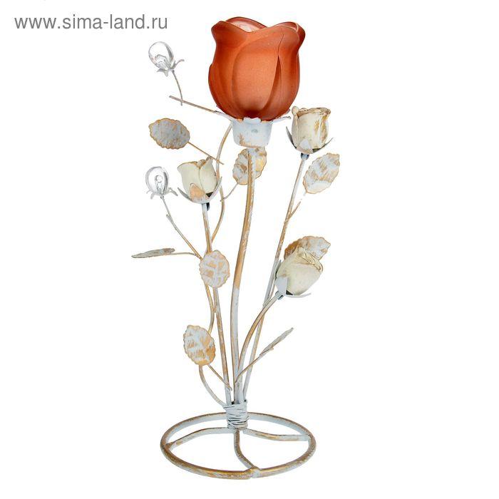 """Подсвечник металл 1 свеча """"Куст  роз"""" 9,5х25,5 см"""