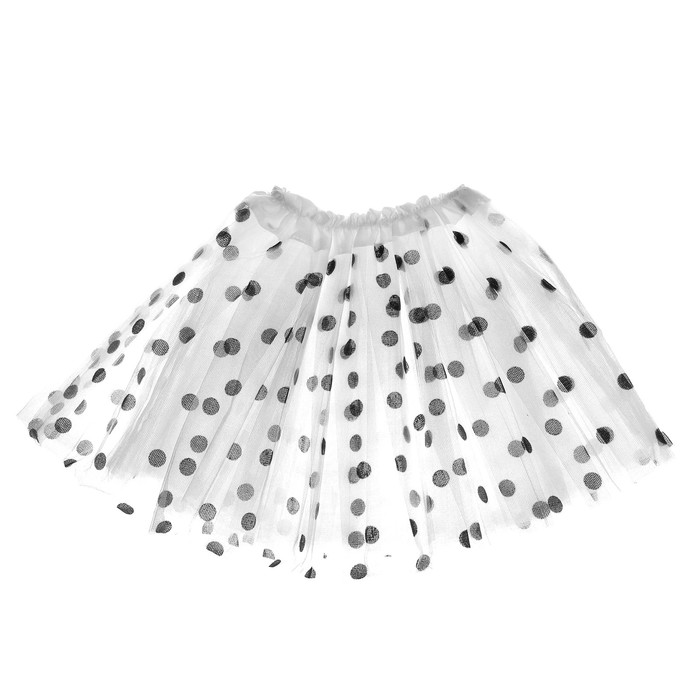 Карнавальная юбка «Горох», 3-х слойная, 4-6 лет, цвет белый