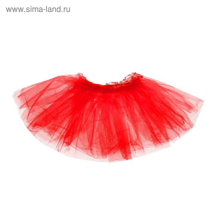 """Карнавальная юбка """"Объем"""" 5 слоев 4-6 лет, цвет красный"""