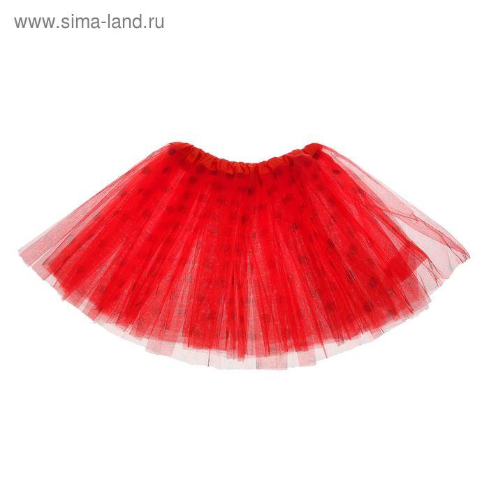 """Карнавальная юбка """"Горох"""" 3-х слойная 4-6 лет, цвет красный"""