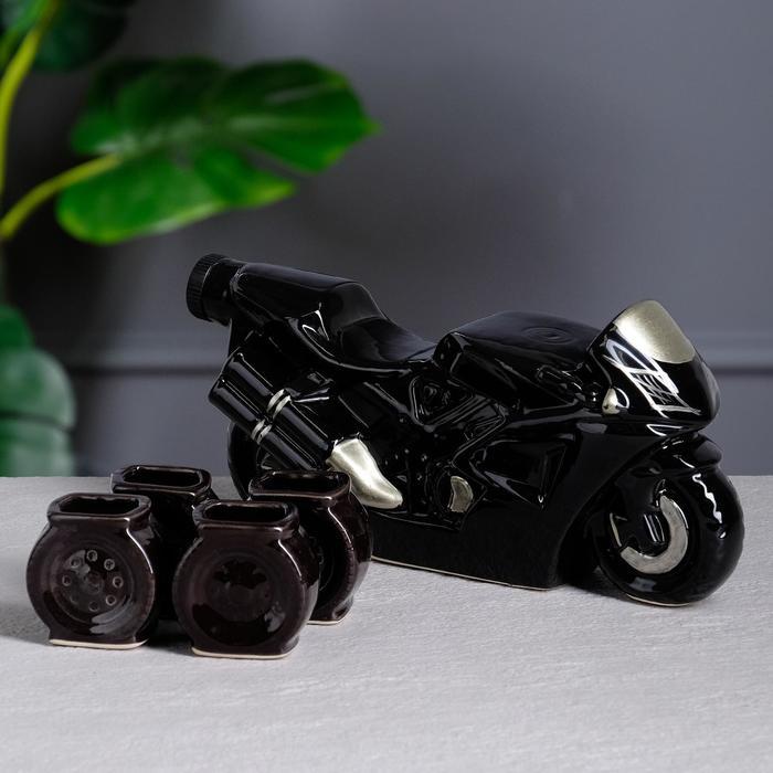 """Коньячный набор """"Байк"""", 5 предметов, чёрный, 0.8/0.05 л, микс"""