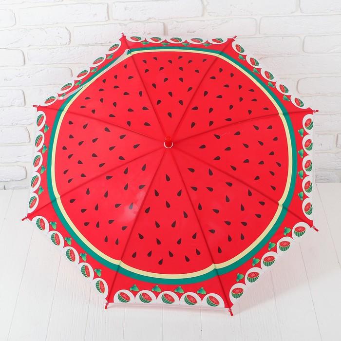 """Зонт детский полуавтоматический """"Арбуз"""", со свистком, r=39см, цвет красный"""