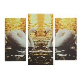 """Картина модульная на подрамнике """"Лебеди"""" 2шт-25,5*50,5см, 30,5*60см, 60х100 см"""