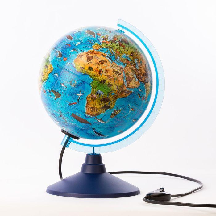 Глобус зоогеографический, детский «Классик Евро», диаметр 210 мм, с подсветкой